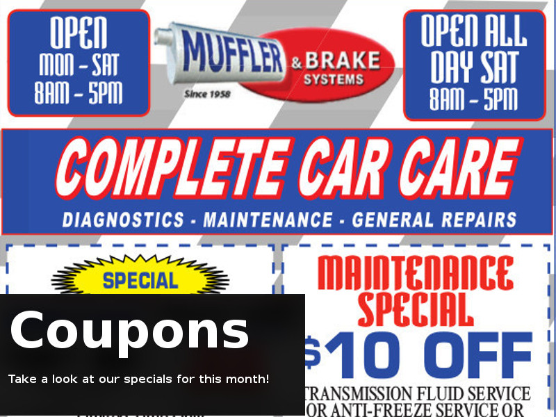 Tp brake and muffler coupons